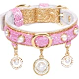 PetsHome Cat Collar, Dog Collar, Bling PU Leather Adjustable Pet Collar with Cute Pearls and Luxury Pendant for Cat and Small