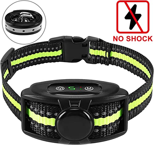 Flittor Bark Collar, NO Shock Anti Barking Dog Collars with Rechargeable Adjustable Sensitivity and Intensity Beep Vibration – No Harm Shock for Small Medium Large Dogs