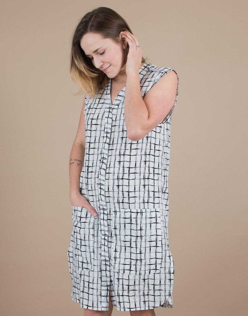 Women's Sleeveless Abstract Grid Print Black and White Shirt Dress by BAUH designs