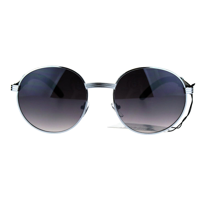 aad264fbb1 Amazon.com  Mens Large Round Wood Buff OG Gangster 90s Luxury Shades  Sunglasses Light Gold  Clothing