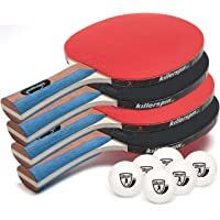 Killerspin Jetset Premium Set with 4 Ping Pong Paddles with Ping Pong Balls