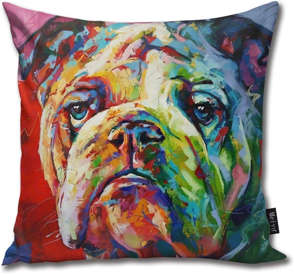 Painted Bulldog Pillow Cover | Pitbulls