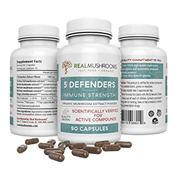 5 Defenders Organic Mushroom Extract Blend (90caps) Chaga, Reishi,  Shiitake, Maitake & Turkey Tail Mushroom Supplements, 45-Day Supply of  Mushroom