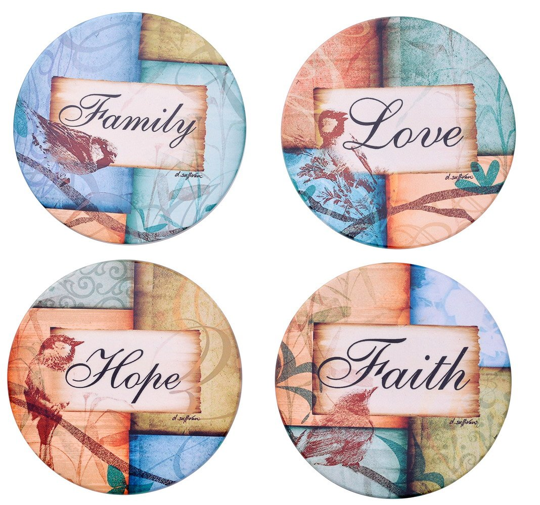 Ceramic Coasters for Drinks,Large 4.2'' Natural Stoneware Coasters Family Love Faith Hope Style Pack of 4