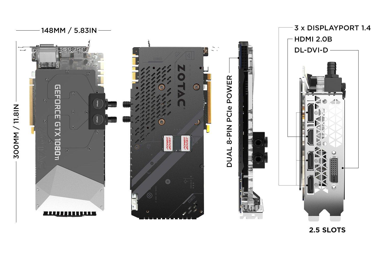 Zotac ZT-P10810E-30P GeForce GTX 1080 Ti 11GB GDDR5X - Tarjeta gráfica (GeForce GTX 1080 Ti, 11 GB, GDDR5X, 352 bit, 11000 MHz, PCI Express x16 3.0): ...