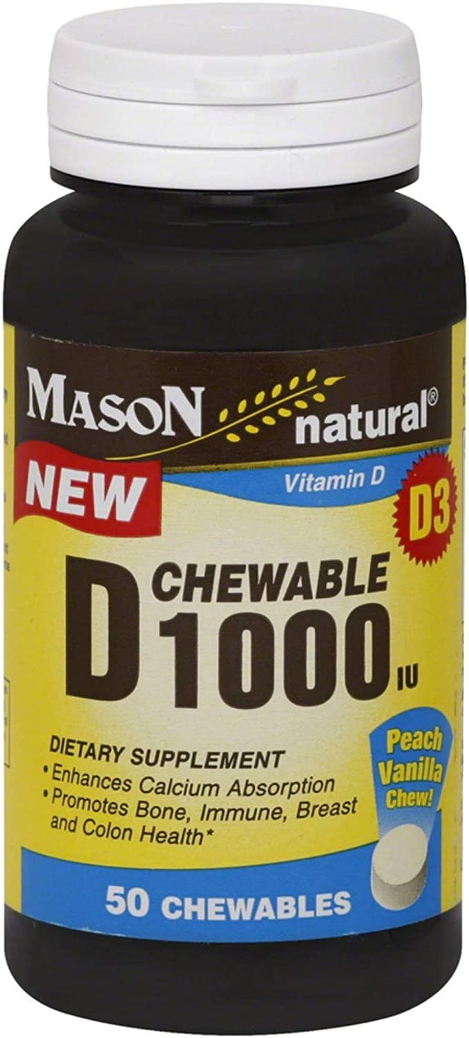 Mason Natural D 1000 IU Peach Vanilla - 50 Chewables, Pack of 5