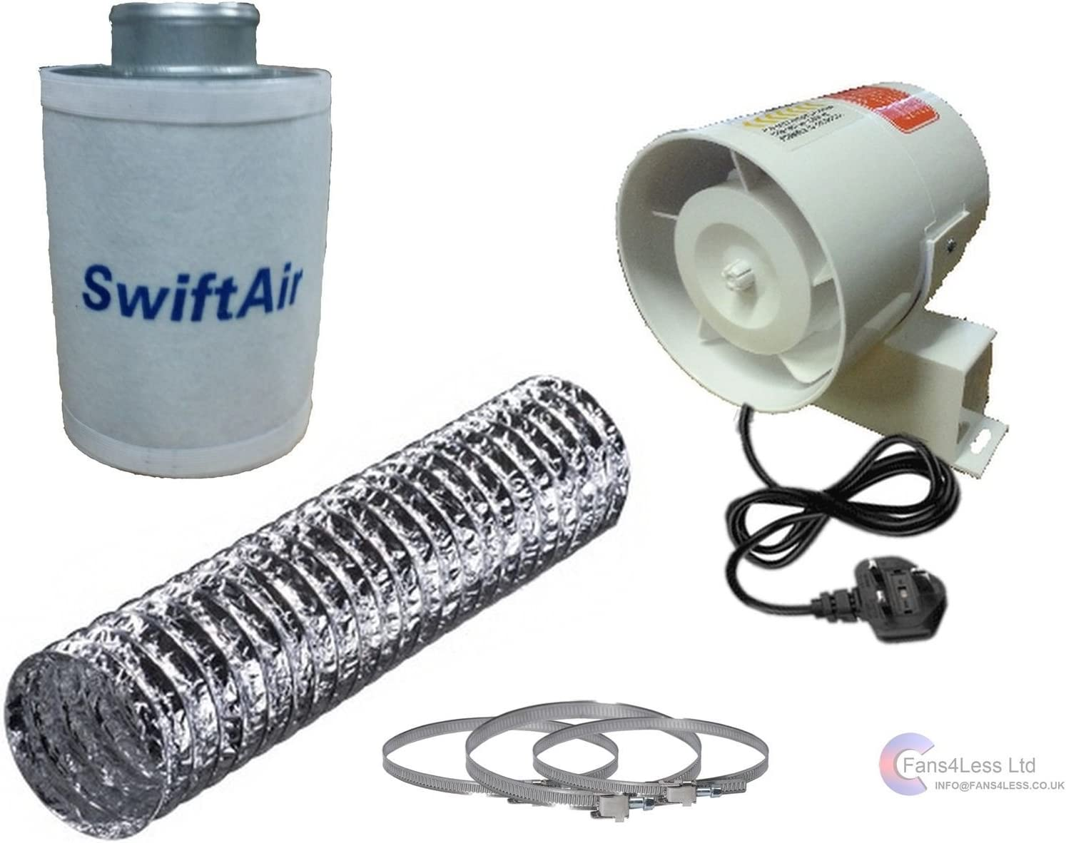 Hydroponic InLine Fan Grow Room LED Tent Set up Ventilation Filter Kit Small 4