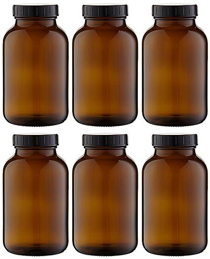 6 x weithals Botella 1000 ml marrón cristal Incluye rosca con junta (* * *