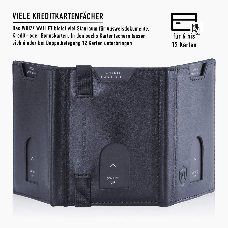 e64a05fac5061 VON HEESEN Kleiner Geldbeutel Männer Ohne Münzfach 6-12 Karten mit RFID-Schutz  Mini Geldbörse Herren Leder Portemonnaie Portmonaise Brieftasche Portmonee  ...