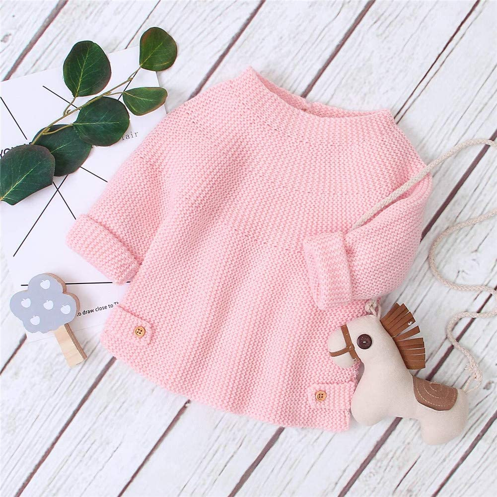 Newborn Toddler Baby Knit Sweater Boy Girl Solid Long Sleeve Pullover Tops Fall Winter Warm Outfits Clothes
