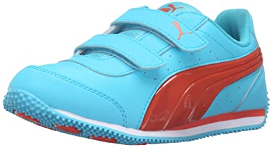 a3dbbe573439 PUMA New Speeder Light UP V PS Sneaker Blue Atoll Mandarine Red 3 M US
