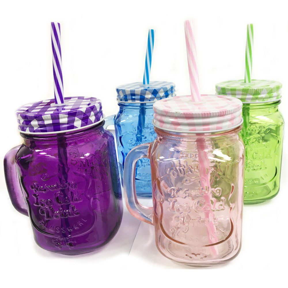 6 X MASON JAM JAR GLASSES WITH HANDLE LID STRAW JUICE DRINK GLASS DRINKING 500ML OOTB