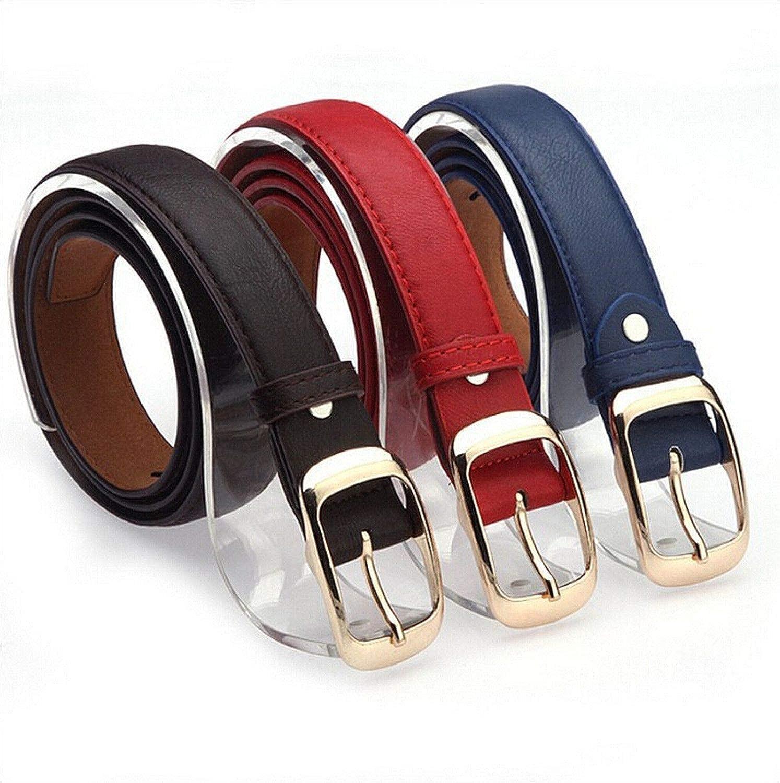 Designer Belts Women New Women Belt Ladies Faux Leather Metal Buckle Straps Girls Accessories