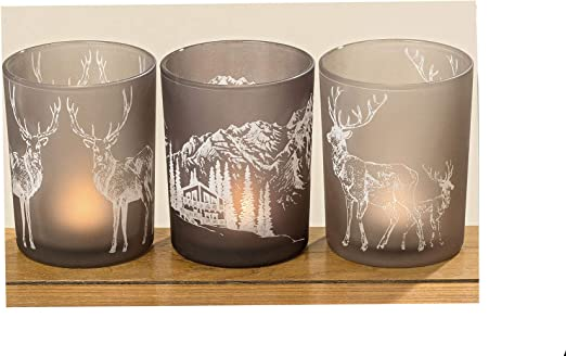 Teelicht Windlicht Glas Teelichthalter Windlichthalter Stern grau 3er Set