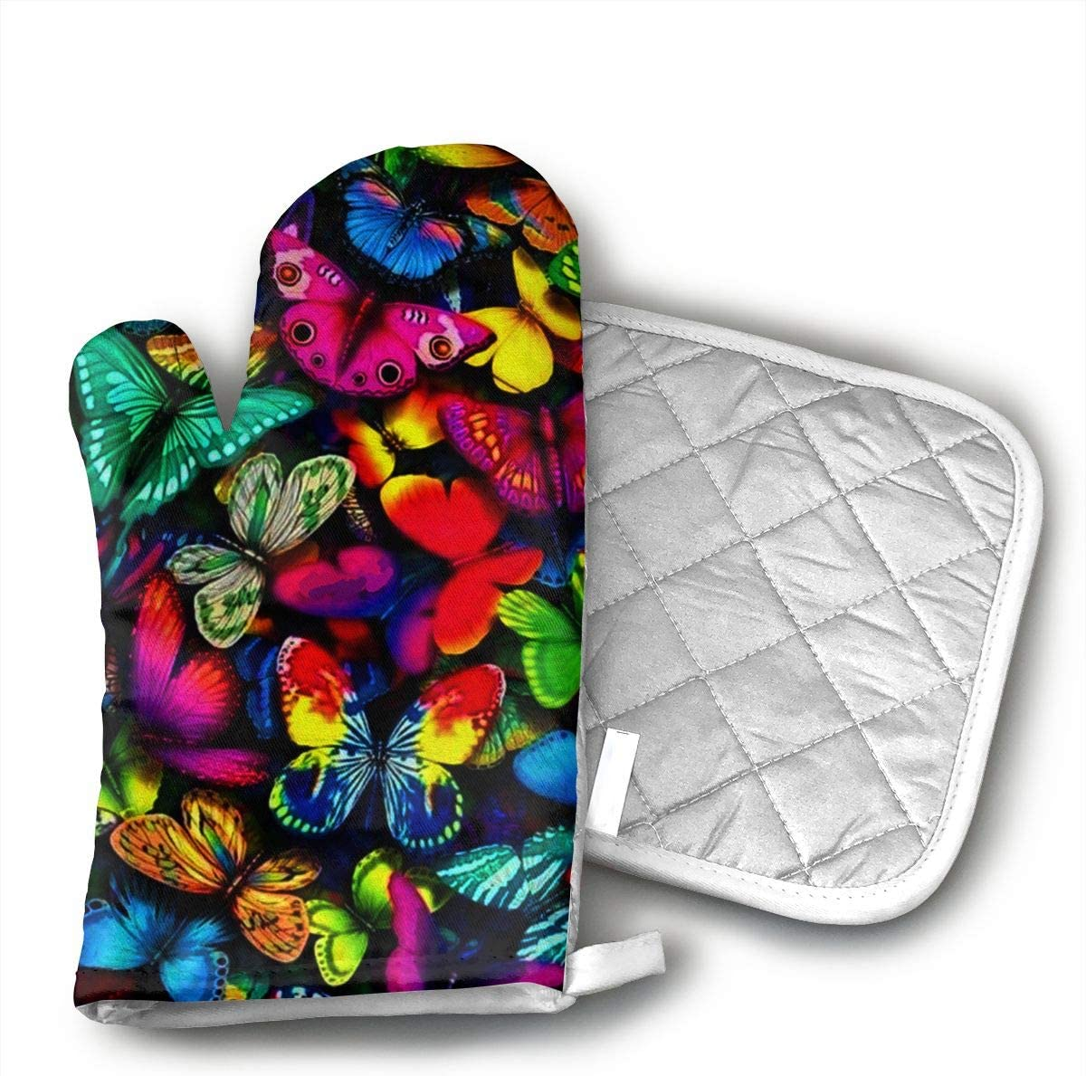 TRENDCAT Colorful Butterfly Oven Mitts and Potholders (2-Piece Sets) - Extra Long Professional Heat Resistant Pot Holder & Baking Gloves - Food Safe