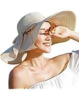 DRESHOW Womens Big Bowknot Straw Hat Floppy Foldable Roll up Beach Cap Sun Hat UPF 50+