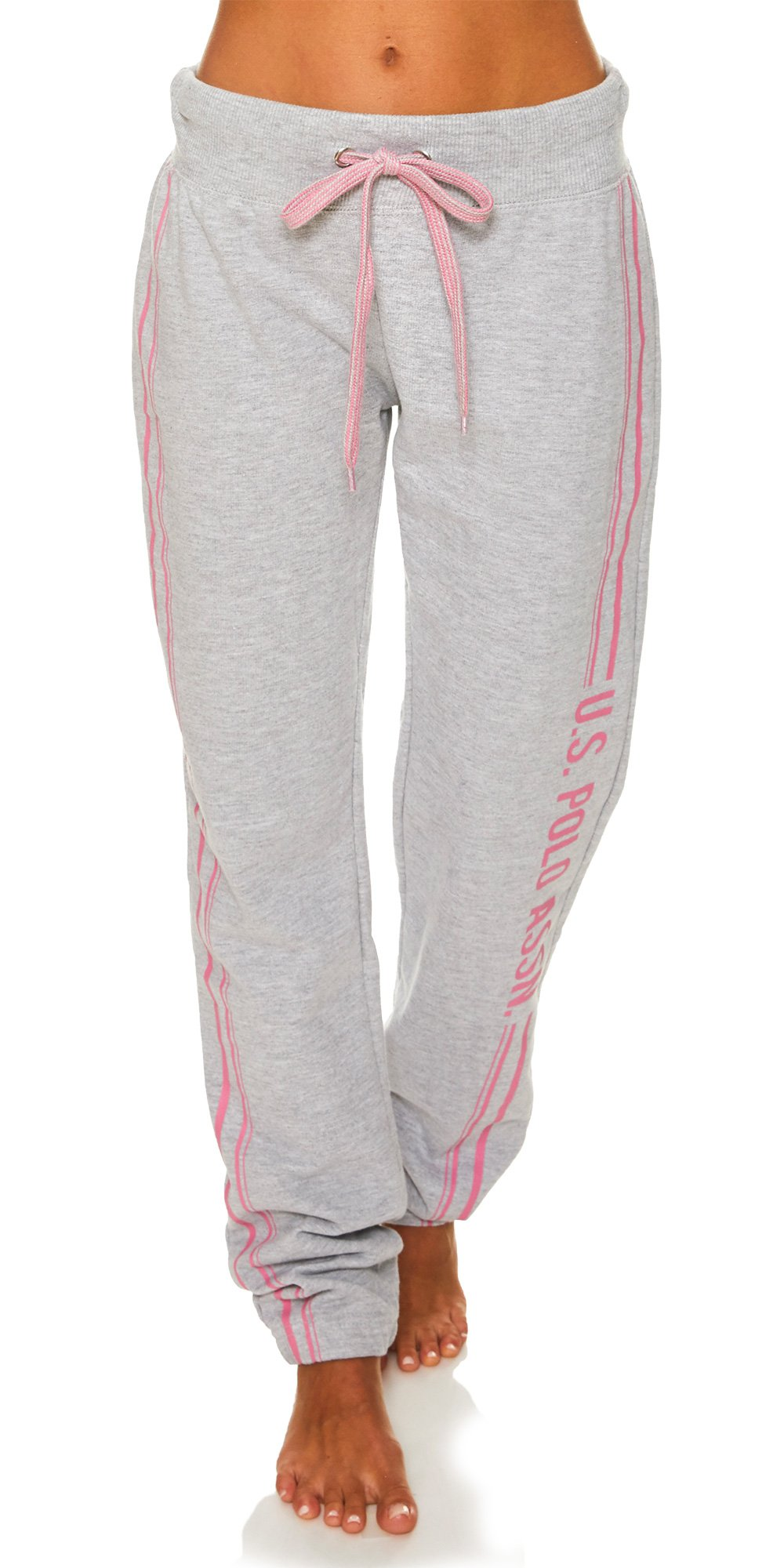 U.S. Polo Assn. Womens Printed Lounge Pajama Sleep Sweatpants Heather Grey Medium