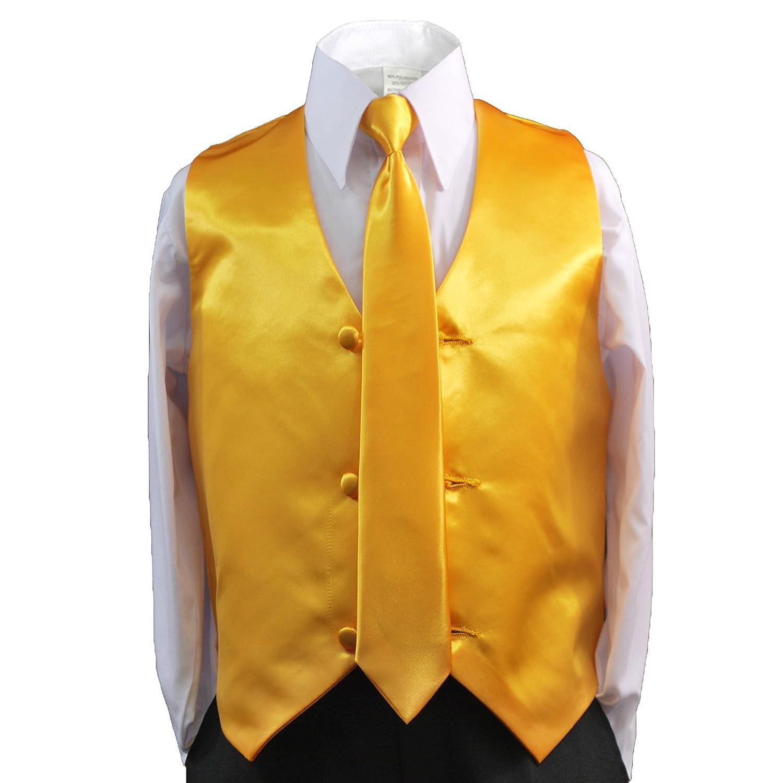 Amazon.com: unotux 2pc Boys satén amarillo chaleco y corbata ...
