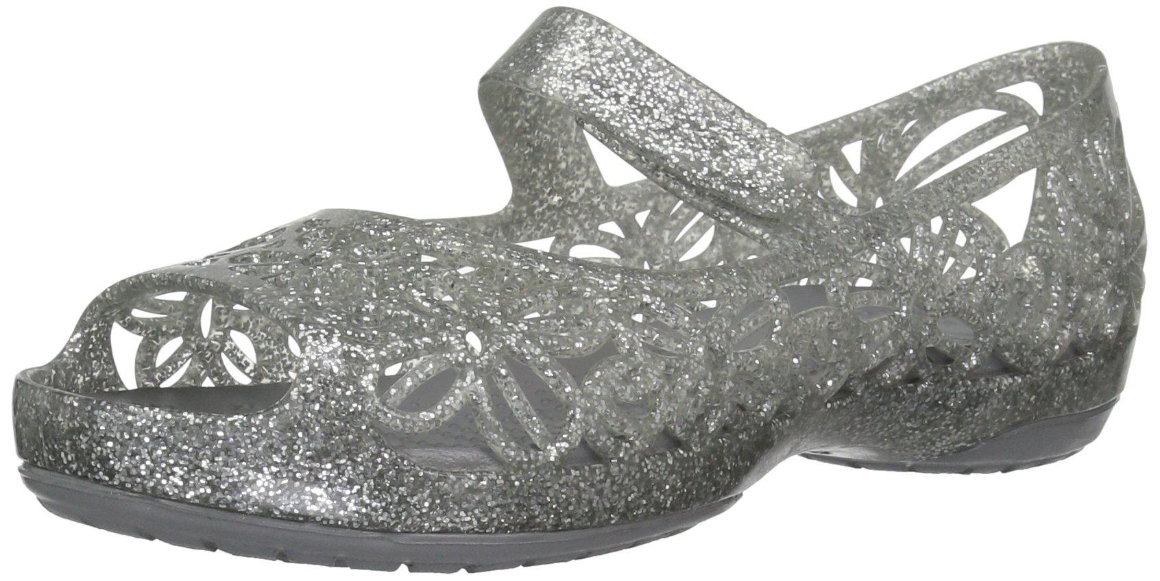 Crocs Girls' Isabella Glitter PS Ballet Flat, Silver, 6 M US Toddler