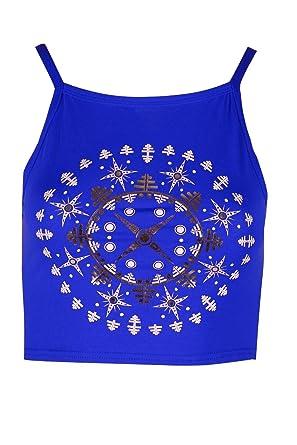 181c230eb11e62 Be Jealous Womens Ladies Festival Ethnic Print Camisole Sleeveless Strappy  Mini Crop Top
