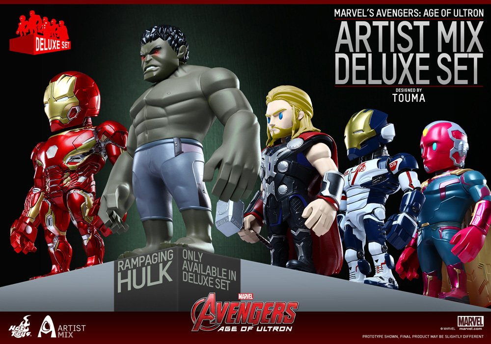 Avengers age of Ultron Artist Mix Touma Deluxe Rampaging Hulk Thor Iron Man Mark Vision Figurines Hot toys SS902413