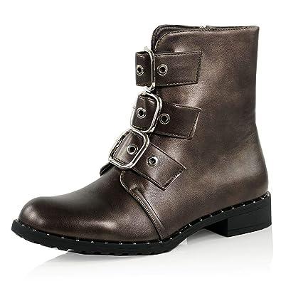 b404f750f75a3 CucuFashion Biker Boots Women Ladies Flat Ankle Boots Low Heel Buckles Punk Gothic  Boot Zip Winter Autumn Shoes Size UK 3 4 5 6 7 8  Amazon.co.uk  Shoes   ...