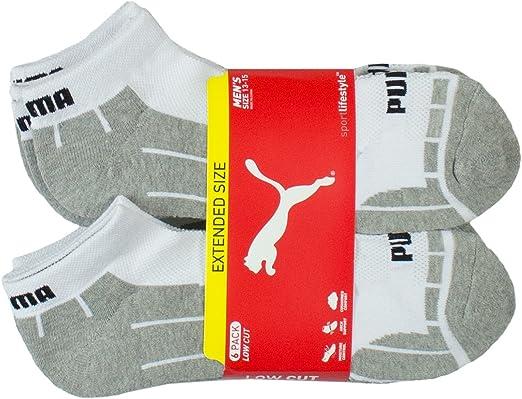 PUMA Men's Sport Half Pile Cushion Low Cut Socks 3Pairs White Gray D//Gray KOREA
