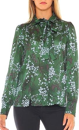 Key-Di Camisa para Mujer Elegante de Raso diseño Floral Verde ...