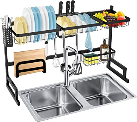 Amazon Com Dish Rack Over The Sink Soledi Sink Dish In Rack Stainless Steel Sturdy Durable Dish Drying Rack Kitchen Maximize Space Easy To Assemble Kitchen Dining