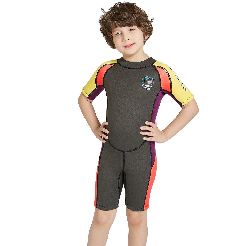 Dark Lightning 2mm Shorty Wetsuit Kids, Boy's Swimwear Shorty Sleeves, Children's Neoprene Diving/Surfing Swimsuit, Grey Wet Suits, M Size