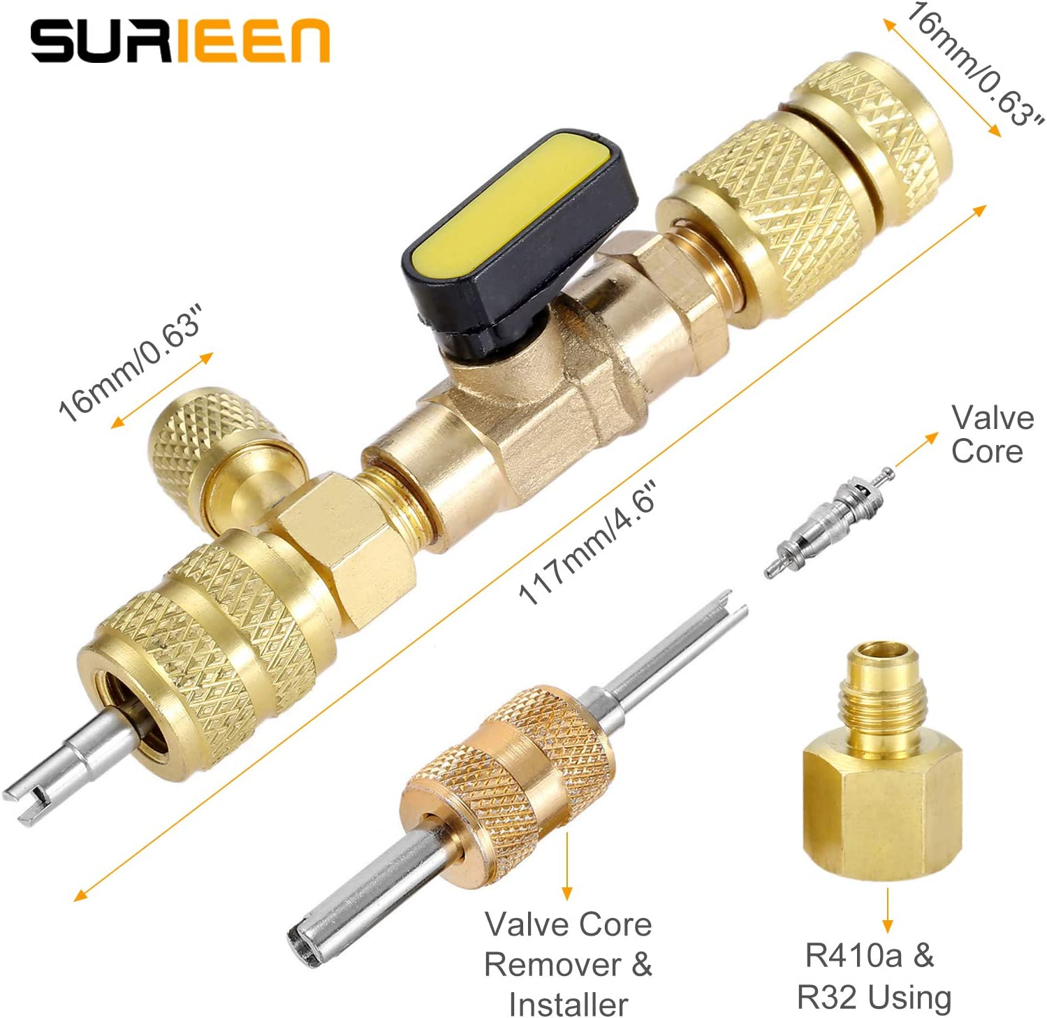 with 10PCS 5v1 Valve Cores and Double Head Valve Core Remover R410A R22 Valve Core Remover Installer Tool with Dual Size SAE 1//4 /& 5//16 Port for R404A R407C R134A R12 R32 HVAC System