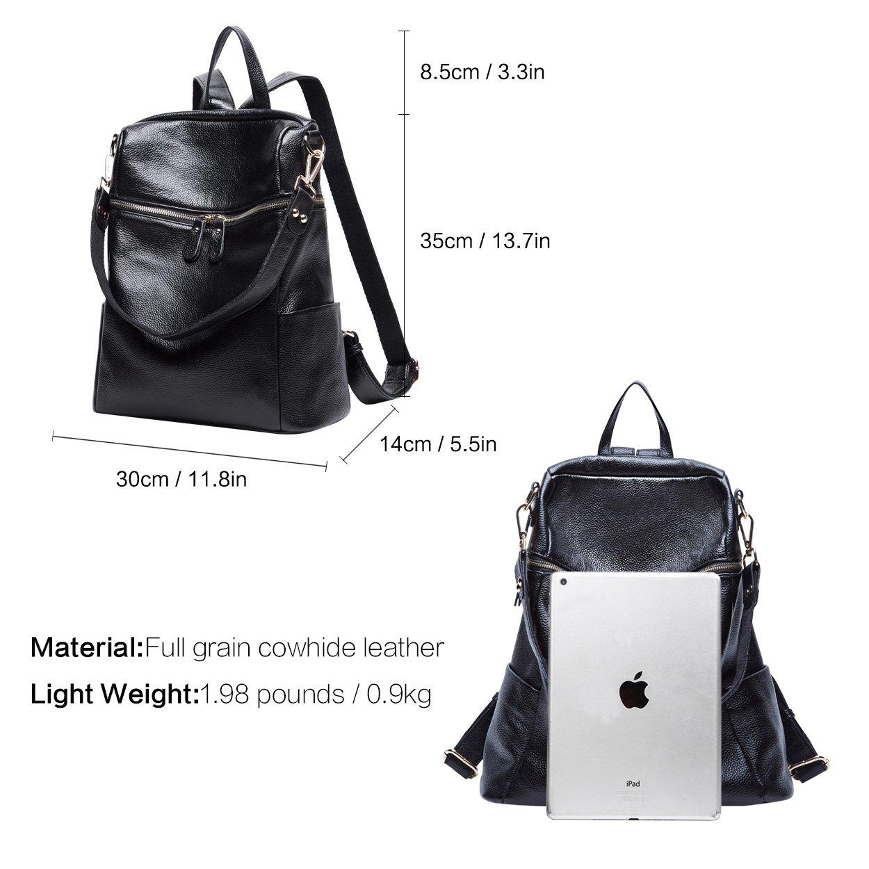 BOYATU Convertible Genuine Leather Backpack Purse for Women Fashion Travel Bag (Black) by BOYATU (Image #4)