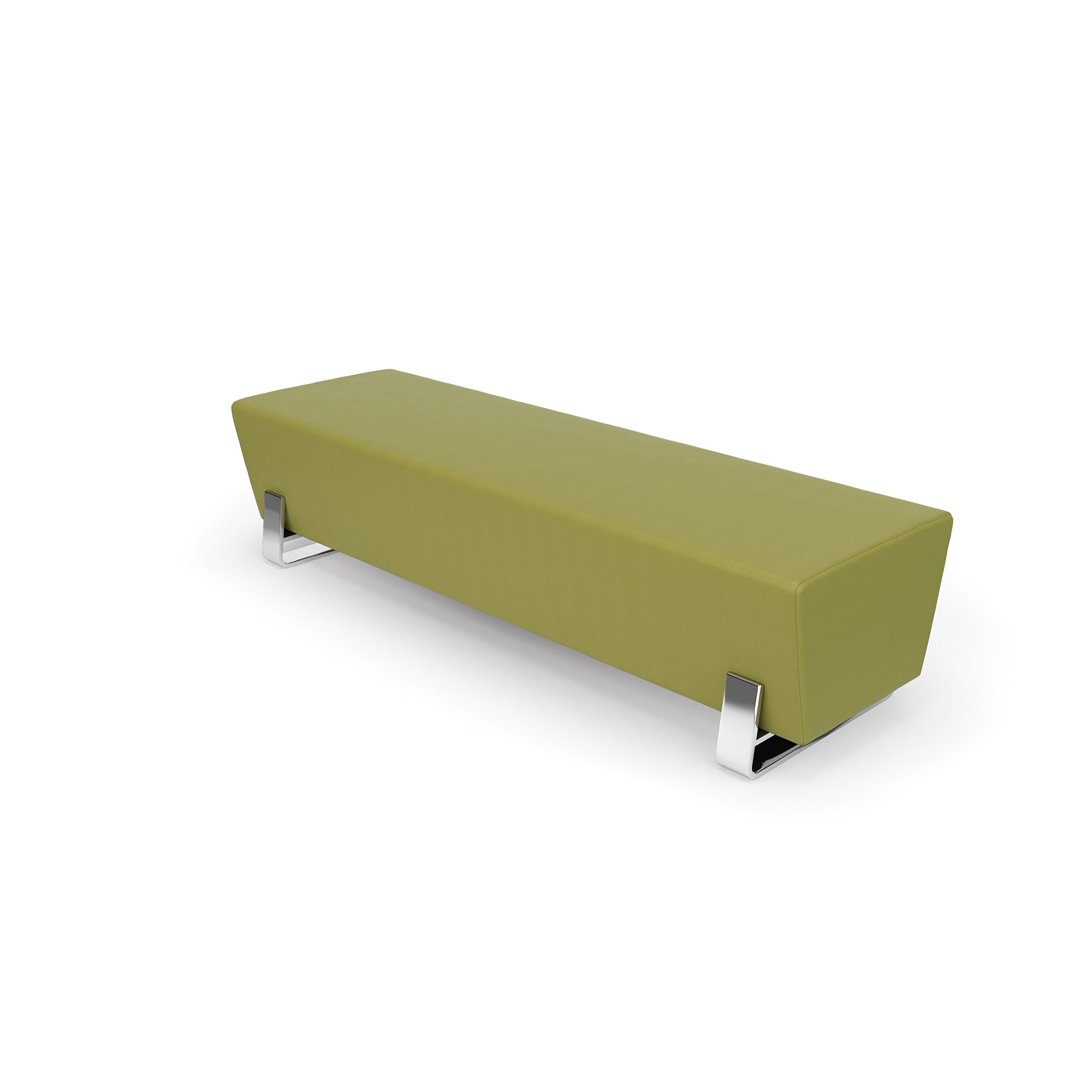 OFM 4003C-LEF Axis Series Triple Bench with Chrome Frame , 17.5'' Height, 22'' width, 71'' Length, green/Cream/black/Gray