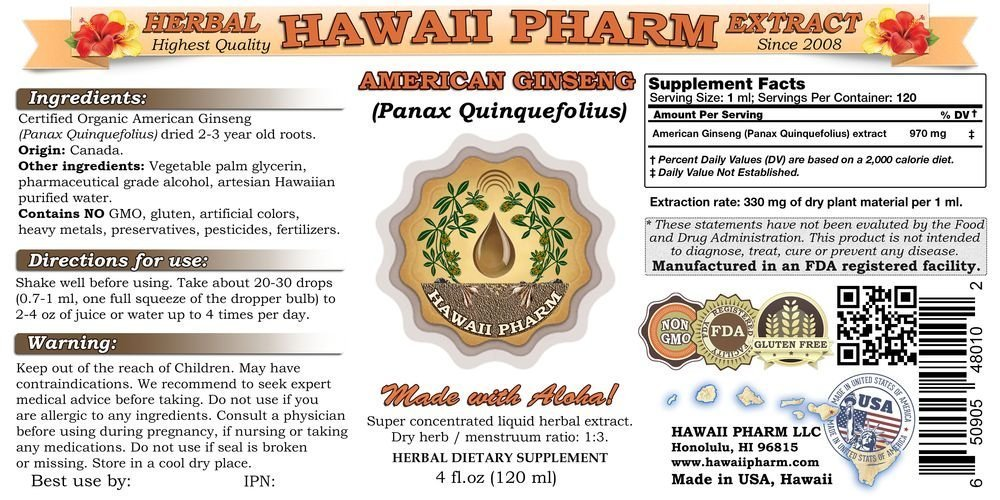 American Ginseng Liquid Extract, Ginseng Panax Quinquefolius Dried Root Tincture 2×4 oz