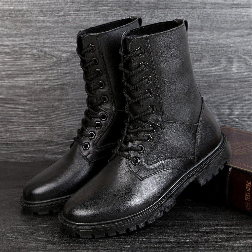 ailishabroy Bottes en Cuir Noir Chaussures Militaire des Cadets des Hommes