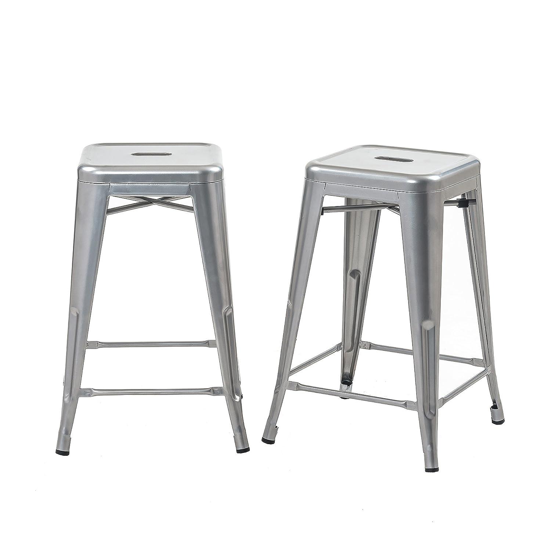 Buschman Set of 2 Gray 24 Inch Counter Height Metal Bar Stools, Indoor Outdoor, Stackable