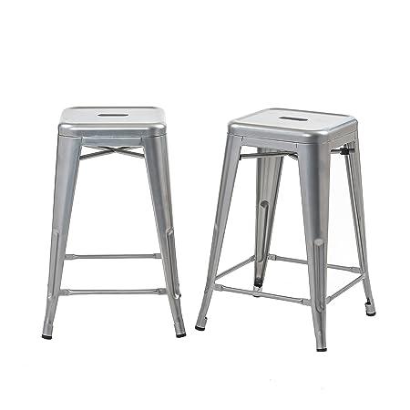 Buschman Set of 2 Grey 24 Inch Counter Height Metal Bar Stools, Indoor Outdoor, Stackable