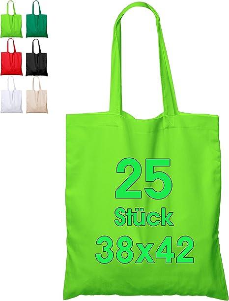 Bolsa de algodón, 38 x 42 cm, sin Estampar, Asas largas, Bolsa de Tela, Bolsa de algodón, Bolsa de Yute con Certificado Öko-Tex ®, 25 unidades (verde claro): Amazon.es: Hogar