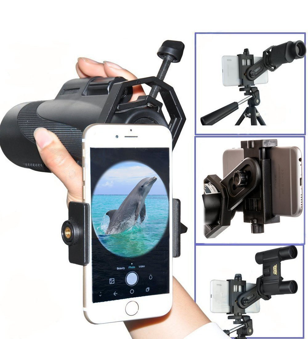 Megadream Universal Cellphone Photo Telescope Adapter Mount for Microscope Binocular Monocular Spotting Scope – For Sony Iphone MOTO Samsung HTC iPhone 6 Plus LG and so on