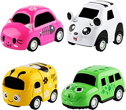 Amazon Com Huobi Mini Cartoon Pull Back Vehicles Cars Toy Set Of 4 Play Vehicles Push And Pull Back Mini Vehicles Early Educational And Learning Toy Friction Powered Car Toys For Kids Toys Games