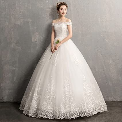 d29b90c6cb4 SLR One-Shoulder Wedding Dress Korean Wedding Dress Shoulder Long-Sleeved  lace Qi was