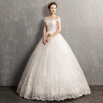 AN Vestido de novia de un solo hombro Vestido de novia coreano de manga larga de