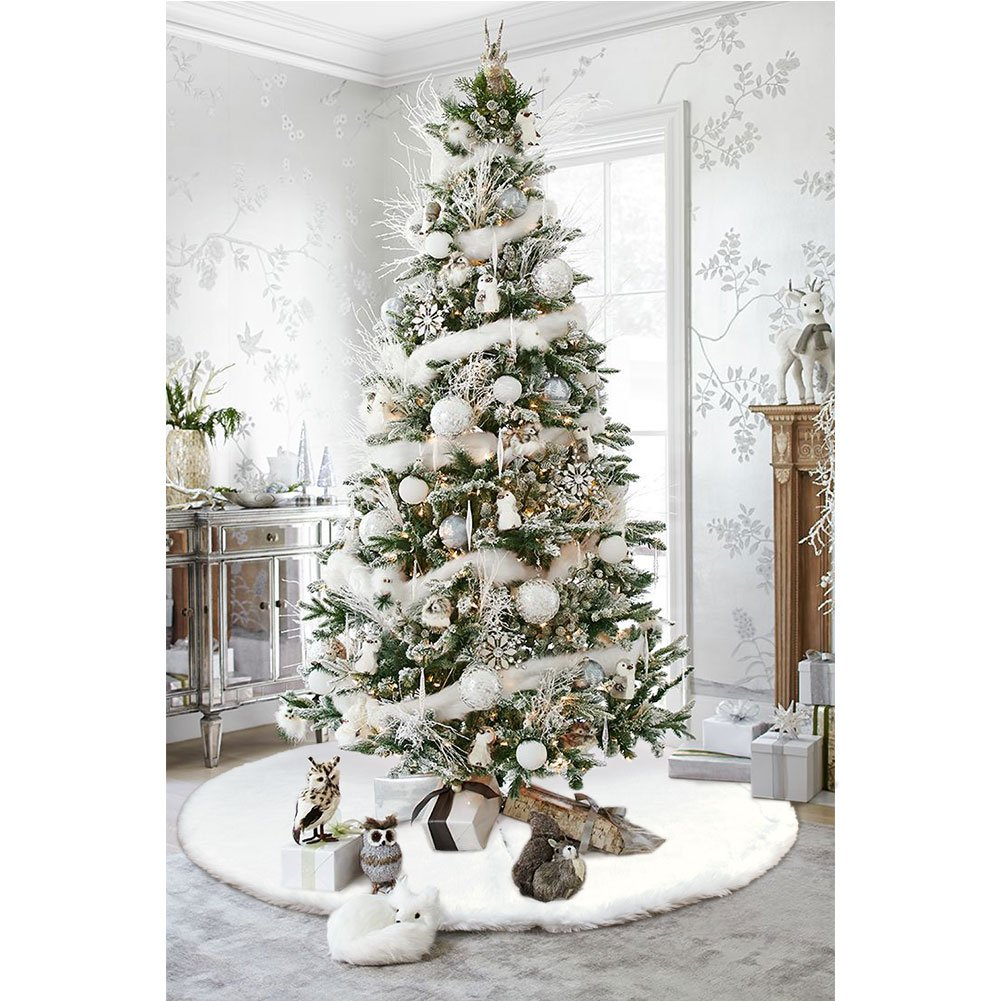 Amazon.com: AerWo Faux Fur Christmas Tree Skirt 48 inches Snowy ...