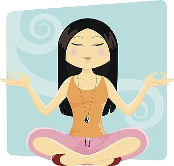 Amazon Com Zen Tranquil Meditate Yoga Pose Cartoon Vinyl Sticker 2 Wide Automotive