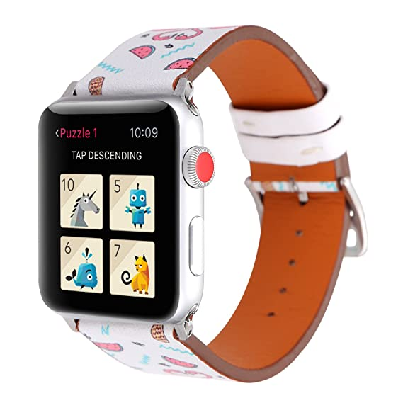 72ebcd6198c3d WONMILLE Bands for Apple Watch 38mm, Fruit Flamingo Printed Leather  Replacement Strap Wrist Watch Band for Apple Watch iwatch Series 1 Series 2  Series ...