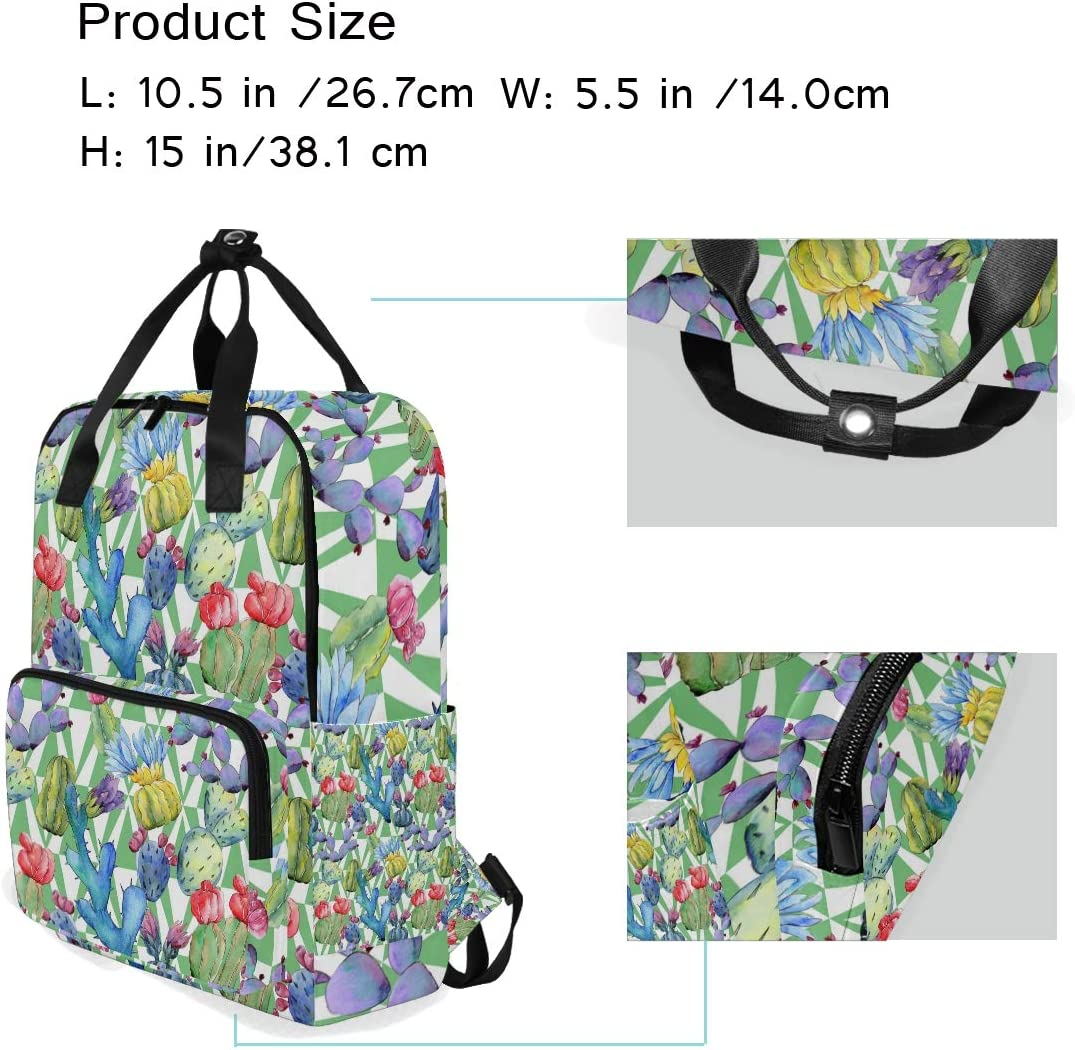 10.5x5.5x15 Backpacks College School Book Bag Travel Hiking Camping Daypack for boy for Girl Tropical Plants Watercolor Holds 14-inch Laptop