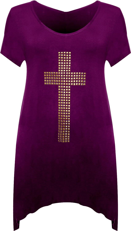 cb105f0f3bb Womens Plus Stud Cross Hanky Hem Tunic Ladies Short Sleeve Long Top Sizes 12-30   Amazon.co.uk  Clothing