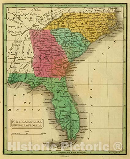 Map Of Georgia 1830.Amazon Com Historic Map N S Carolina Georgia Florida J H