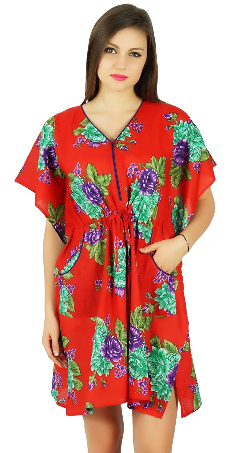 Bimba Womens Short Cotton Kaftan Red Floral Caftan with Pockets Beach Coverup/Sleep Wear