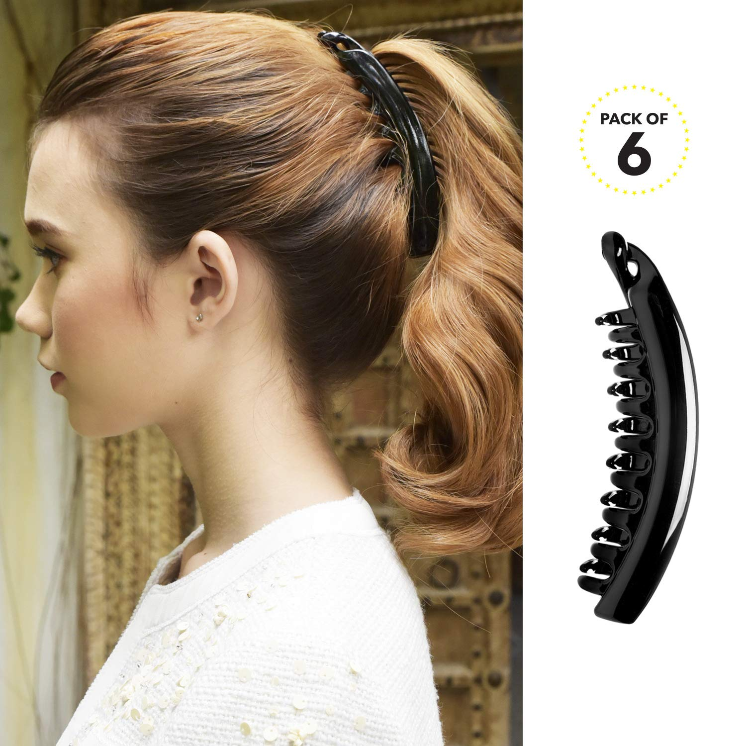 RC ROCHE ORNAMENT 6 Pcs Womens Premium Hair Plastic Banana Classic Clincher Strong Hold Ponytail Maker Styling Girls Ladies Beauty Accessory Clasp Clip, Large Black : Beauty